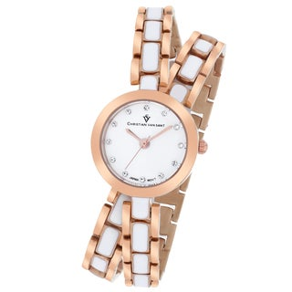 Christian Van Sant Women's CV5613 Spiral Round Two-Tone Bracelet Watch