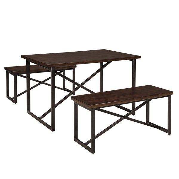Signature design by ashley joring rectangle table with two for Rectangle kitchen table with bench