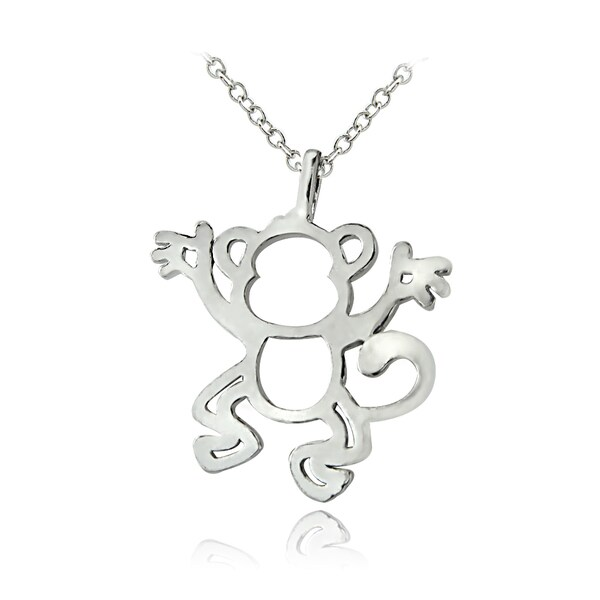 Mondevio Sterling Silver Monkey Necklace