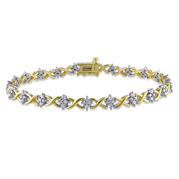 Miadora 1ct Tdw Diamond Crisscross Bracelet In 2 Tone Yellow And White Sterling Silver