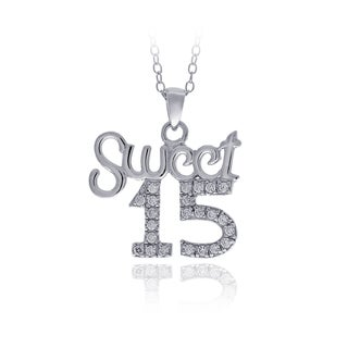 ICZ Stonez Sterling Silver Cubic Zirconia Sweet 15 Necklace