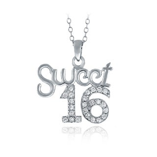 ICZ Stonez Sterling Silver Cubic Zirconia Sweet 16 Necklace
