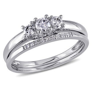 Miadora 10k White Gold 1/3ct Diamond 3-Stone Engagement Bridal Ring Set
