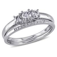 Miadora 10k White Gold 1/3ct Diamond 3-Stone Engagement Bridal Ring Set