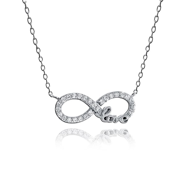 ICZ Stonez Sterling Silver Cubic Zirconia Infinity Love Necklace