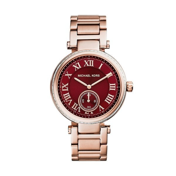 Michael Kors Women's MK6086 'Skyler' Red Dial Rose Gold Tone Stainless Steel Watch