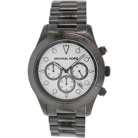 Michael Kors Men's MK6083 'Layton' Chronograph Black Stainless Steel Watch - Silver