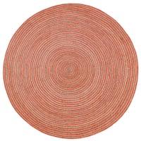 Natural Hemp/ Orange Cotton Racetrack (3'x3') Round Rug - 3' x 3'
