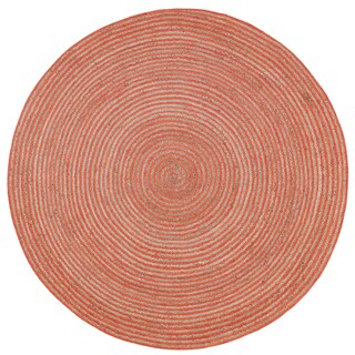Natural Hemp/ Orange Cotton Racetrack Round Rug - 3' x 3'