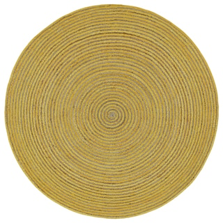 Natural Hemp /Yellow Cotton Racetrack (3'x3') Round Rug