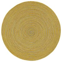 Natural Hemp /Yellow Cotton Racetrack Round Rug - 3'x3'
