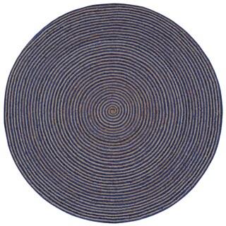 Natural Hemp/ Blue Cotton Racetrack (8'x8') Round Rug - 8' x 8'