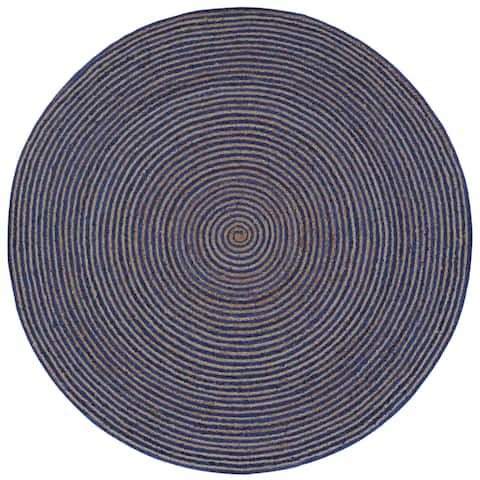 Natural Hemp/ Blue Cotton Racetrack (3'x3') Round Rug - 3' x 3'