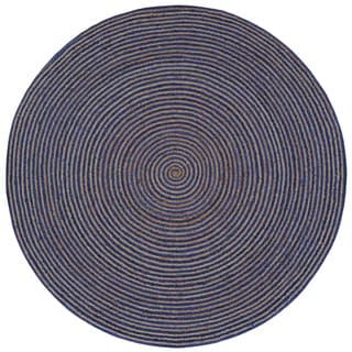 Natural Hemp/ Blue Cotton Racetrack (3'x3') Round Rug