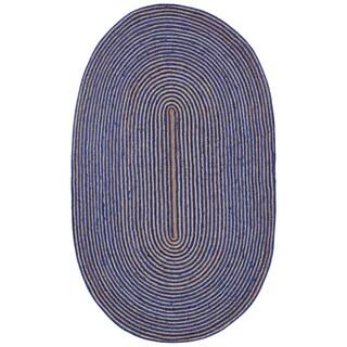 Natural Hemp/ Blue Cotton Racetrack (5'x8') Oval Rug