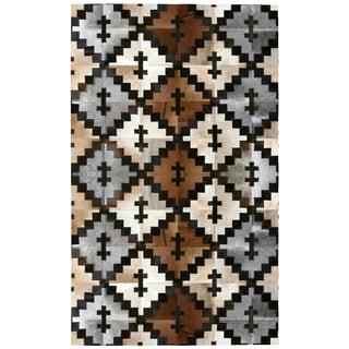 Brown Leather Hair-On Hide Matador Rug (5'x8')
