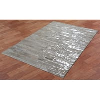 White Leather Hair-On Hide Matador Rug (5'x8') - 5' x 8'