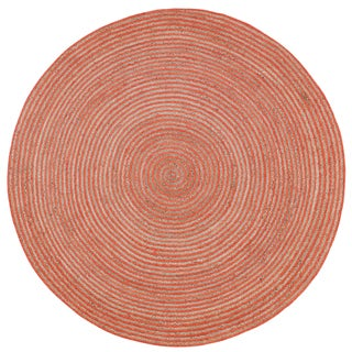 Natural Hemp/ Orange Cotton Racetrack Round Rug (8'x8')