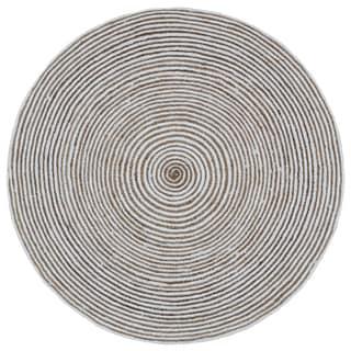 Natural Hemp/ White Cotton Racetrack Round Rug (6'x6')