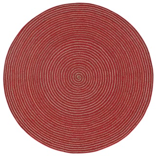 Natural Hemp/ Red Cotton Racetrack Round Rug (6'x6')