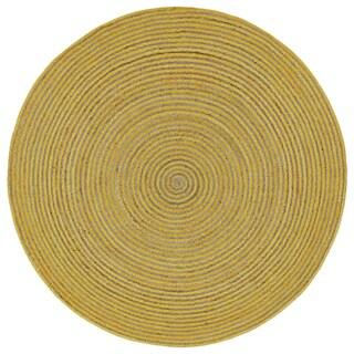 Natural Hemp/ Yellow Cotton Racetrack Round Rug (6'x6')