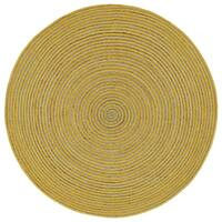 Natural Hemp/ Yellow Cotton Racetrack Round Rug - 6'
