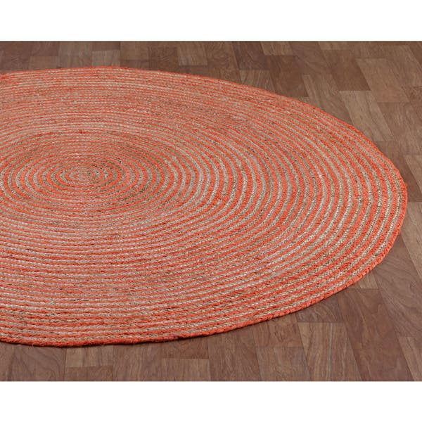 Orange Cotton Racetrack Round Rug