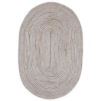Natural Hemp/ White Cotton Racetrack Oval Rug (5'x8')