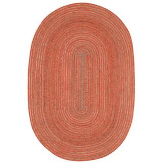 Natural Hemp/ Orange Cotton Racetrack Oval Rug (5'x8')