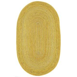 Natural Hemp/ Yellow Cotton Racetrack Oval Rug (5'x8')