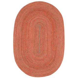 Natural Hemp/ Orange Cotton Racetrack Oval Rug (4'x6')