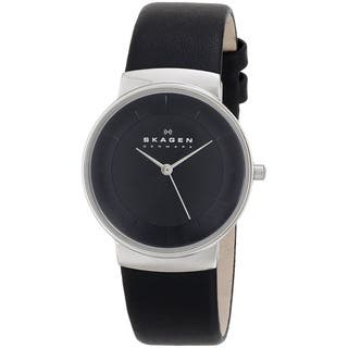 Skagen Women's SKW2059 Black Leather Watch|https://ak1.ostkcdn.com/images/products/9756333/P16928311.jpg?impolicy=medium