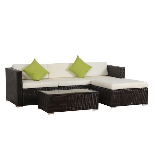 BroyerK 5 Piece Rattan Outdoor Patio Furniture Set