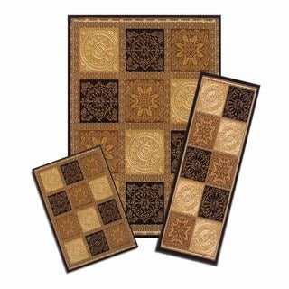 Achim Capri Sarouk Squares Brown 3-piece Rug Set