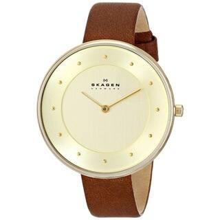Skagen Women's Gitte SKW2138 Brown Leather Quartz Watch|https://ak1.ostkcdn.com/images/products/9756384/P16928337.jpg?impolicy=medium