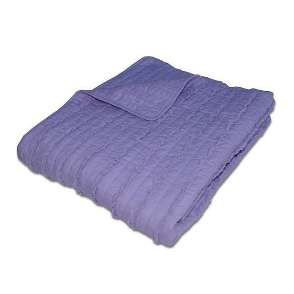 Greenland Home Fashions Ruffled Lavender Quilted Cotton Throw