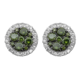 Divina 10k White Gold 1ct TDW Diamond Fashion Stud Earrings (H-I, I-3)