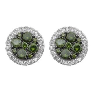 Divina 10k White Gold 1ct TDW Diamond Fashion Stud Earrings (H-I, I-3)