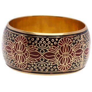Sitara Handmade Red Black Gold Metallic Bangle Bracelet (India)
