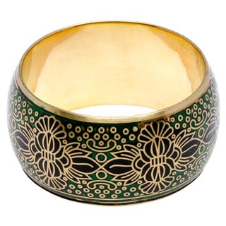 Sitara Handmade Green and Black Metallic Bangle Bracelet (India)