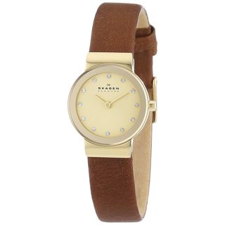 Skagen Women's Freja SKW2175 Brown Leather Quartz Watch - Gold