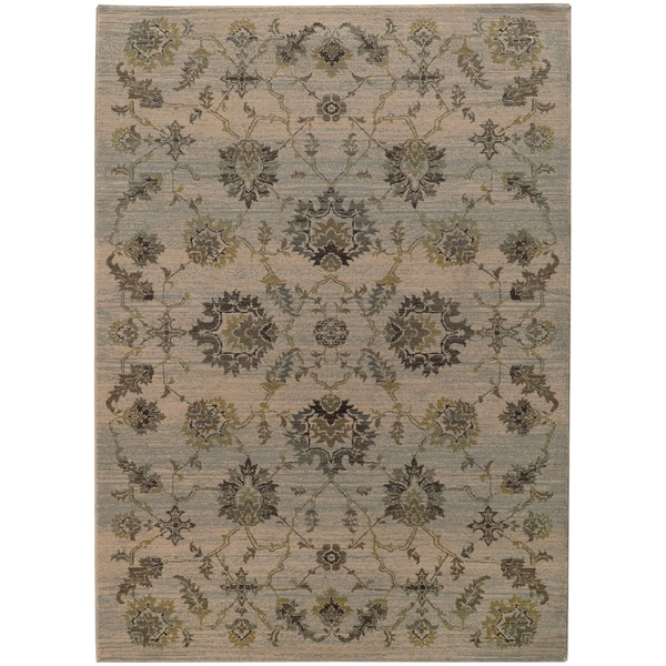"Heirloom Floral Traditional Ivory/Blue Area Rug - 5'3"" x 7'6"""