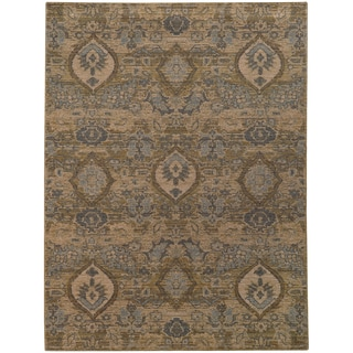 Hertiage Floral Ikat Ivory/ Blue Rug (3'10 X 5'5)
