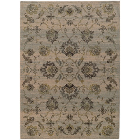 Heritage Floral Traditional Ivory/ Blue Rug - 3'10 x 5'5