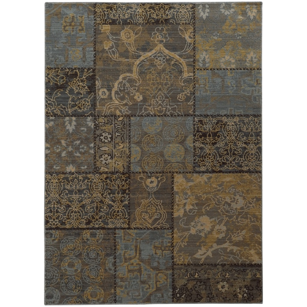 """Heritage Patchwork Charcoal/ Blue Rug (5'3 X 7'6) - 5'3"""" x 7'6"""""""