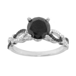 10k White Gold 1.95 ct TDW Black and White Diamond Engagement Ring