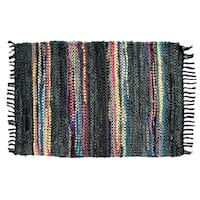 Hand-woven Broadway Collection Multi-colored Leather Rug (8' x 10')