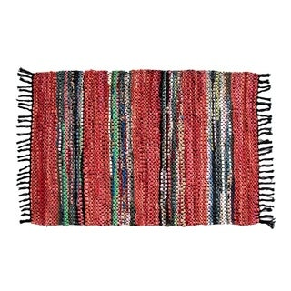 Hand-woven Broadway Collection Red Leather Rug (8' x 10')