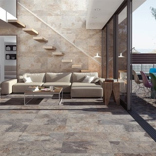 SomerTile 12.5x24.5-inch Ariana Gris Porcelain Floor and Wall Tile (5 tiles/11 sqft.)