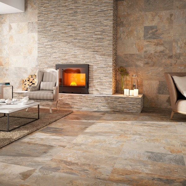 SomerTile 12.5x24.5-inch Ariana Ocre Porcelain Floor and Wall Tile. Opens flyout.